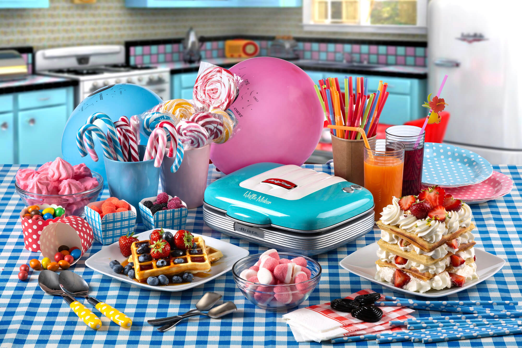 ariete 1973 waffle party time azzurro