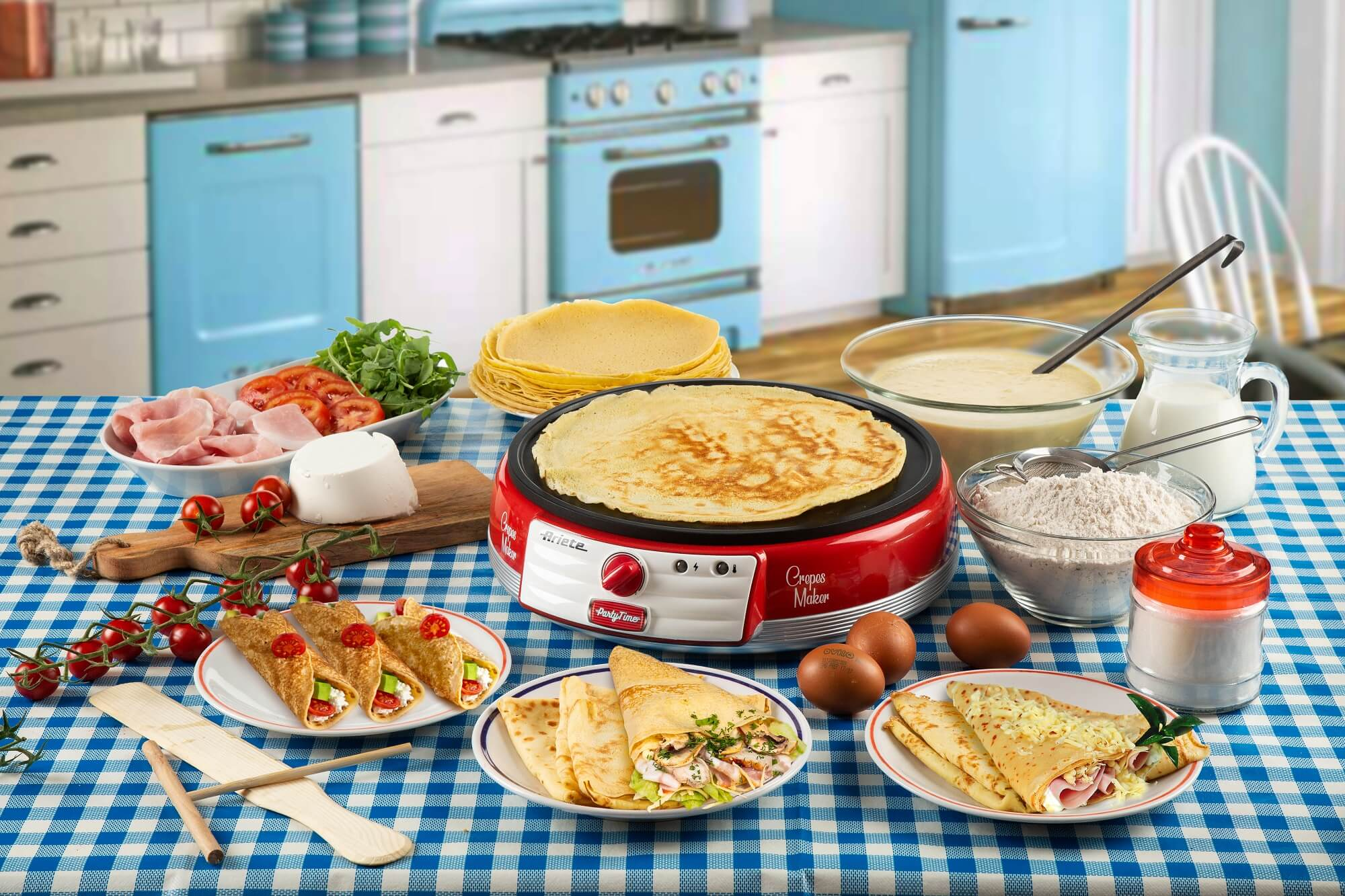 crepes maker party time ariete 202 rosso